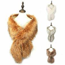 Women Winter Warm Faux Fur Fluffy Collar Shaggy Shrug Ladies Shawl Neck Wrap