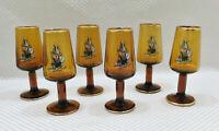 Set of 6 Vintage Miniature Amber Glass Stemmed Goblets Sailing Ship Gold Liqueur