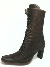 VITTORIO PIANI Boots Brown Leather Victorian Heels Lace up Womens EU 39 US 8.5/9