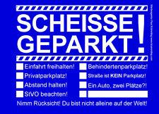 Scheisse Geparkt Notizblock A7 für Windschutzscheibe 50 Blatt Blau Falschparker