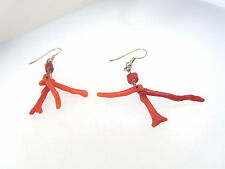 "VINTAGE HANDCRAFTED RED BRANCH CORAL DANGLE PIERCED EARRINGS 2"" L"