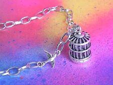 Pendant Necklace Handmade Steampunk Animals Bird Cage Silver Metal Birdcage
