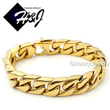 "8.5""MEN's Stainless Steel HEAVY WIDE 14x4mm Gold Cuban Curb Chain Bracelet*GB59"