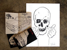 Tim Armstromg Skullman flip off signed print and zine, sold out