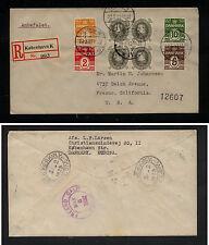 Denmark  212 block on registered cover to US 1932        MS1006