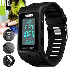 Men's Women's Sport Band Digital Wrist Watch LED Waterproof Chronograph Repeater