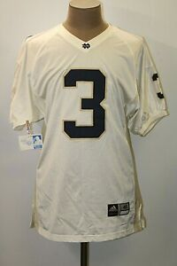 NEW Adidas Men's Size 48 White University of Notre Dame #3 Football Jersey NWT