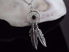 Sterling Silver 925 & Onyx Dreamcatcher Pendant 16/18'' Necklace Gift Box UK