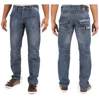 Enzo Mens New Denim Jeans In Stonewash Colour Straight Leg Pants Sizes 28 - 48