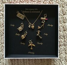 NEW JUICY COUTURE GOLD MULTIPLE CHARM DAY OF THE WEEK NECKLACE
