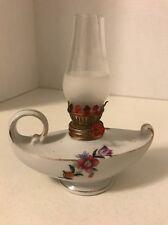 Vintage Porcelain Genie Oil Lamp Floral Painted