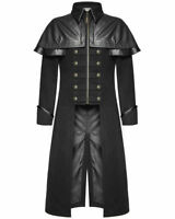Men's Gothic Highwayman Steampunk  VTG Military Long Coat Jacket