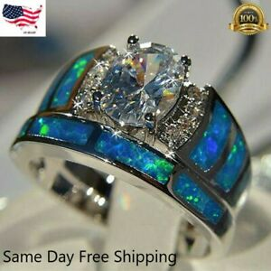 2pcs/set 925 Silver Rings for Women White Sapphire Jewelry Wedding Ring Sz 6-10