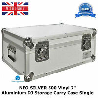 "1 X NEO SILVER Aluminium DJ Storage Carry Case Holds 500 Vinyl 7"" Single Records"