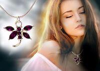Halskette Libelle Kette Strass Collier Schmuck Mode silberfarben Damen Neu