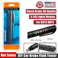 Brake Fluid Liquid Oil Tester Pen 5 LED Indicator Car Testing Tool For DOT3 DOT4