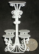 Dollhouse Mini White Wire Multi Plant Flower Stand 1:12 Garden Patio #EIWF242