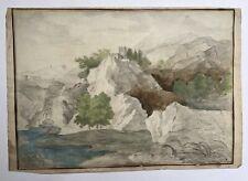 Dessin aquarellé ancien,Tour au sommet d'un rocher, Paysage de montagne, XVIIIe