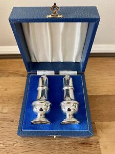 Silver Salt and Pepper Shakers Broadway & Co, Birmingham 1988. Boxed.