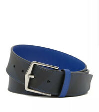 New Auth Burberry Men Belt Nova Check Plaid Navy Blue Black Leather 34 85 $455