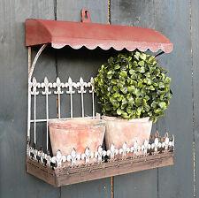 Balkon mit 2 x Topf Metall Terracotta Set Vordach Kräuterregal Regal Ablage Deko