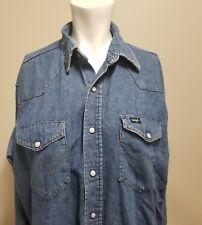 "Wrangler Woman's Denim Shirt Western Pearl Snap Reg Fit X Long Tails Chest 48"""
