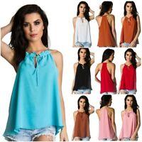 Coqueta Women's halter Flare Sleeveless Elastic Ruffle chiffon Shirt Blouse Top