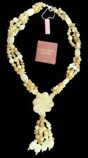 Creamy Yellow Agate Flower Necklace 925 Sterling Silver Handmade Brand New ss