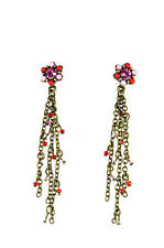 ELEGANT BRONZE RED MULTI STONE TASSELED EARRINGS STUNNING RETRO LOOK (A19)