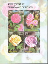 INDIA 2007 LOT OF 10 MINIATURES OF PERFUMED ROSES 4 VALUE MNH S/S WHITE GUM