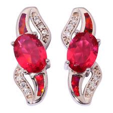 Silver Red Fire Opal Kunzite Zircon Women Jewelry Gemstone Stud Earrings OH4172