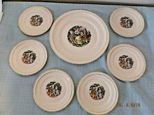Harkerware Colonial Mount Vernon Cake Plate and Dessert Dishes 7 Piece Set