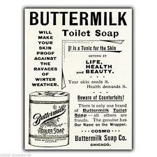 Buttermilk Toilet Soap Vintage Advert Metal Wall Sign Plaque Poster Print