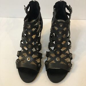 Vince Camuto heels size 7 black leather strappy caged gladiator sandals open
