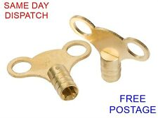 2 X SOLID BRASS RADIATOR BLEED KEYS - PLUMBING TOOL - Fast Free Delivery