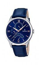 Festina Retrograde Herrenuhr Uhr Armbanduhr Leder Blau Tag Datum F16823/3