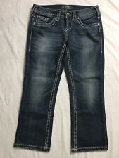 Silver Aiko Capris Womens Denim SZ 25 Cropped Distressed Med Wash Thick Stitch