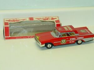 Vintage Japan Tin Taiyo Ford Fire Chief Car, In Box, Friction