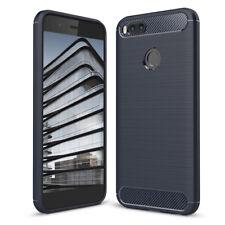 Mobile Phone Shell TPU Silicone Soft Slim Case Carbon Fibre Thin Skin Back Cover XIAOMI Mi 5x / A1 Navy Blue