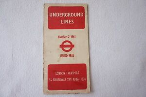1941 No. 2 Railway Map London Transport Underground Tube Harry Beck