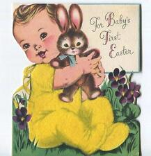 VINTAGE BABY BUNNY RABBIT GARDEN FLOWERS FIRST EASTER FLOCK LITHO GREETING CARD