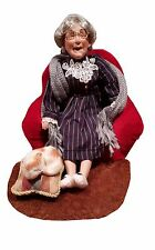 ~~PORCELAIN GRANDMA DOLL ON SOFA WITH KITTY CAT ON PILLOW HERITAGE COLLECTION
