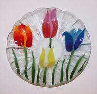 "LOVELY SIGNED WILLIAM MCGRATH FUSED ART GLASS TULIPS 6 3/4"" RUFFLED BOWL"