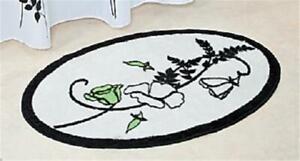Black & White Floral Bathroom Bath Mat