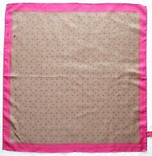 "Designer MARIA GALLAND Paris Beige Pink LOGO Monogram Twill Silk 26"" Promo Scarf"
