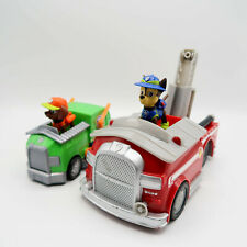 Paw Patrol Figures Chase & Rubble with firetruck & garbage rescue cars lot