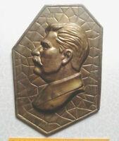 Russian leader STALIN portrait picture copper USSR Propaganda wall hanging