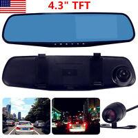 "4.3""Car Dash Camera Dual Cam Vehicle Front Rear DVR Lens Video Recorder HD 1080P"