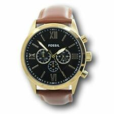 Fossil Flynn Chronograph 48mm Gold Stainless Steel Case Brown Leather Buckle Men's Wristwatch (BQ2261)