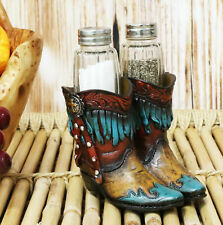Fancy Turquoise Pair Of Cowgirl Boots With Fringe Design Salt Pepper Shakers Set